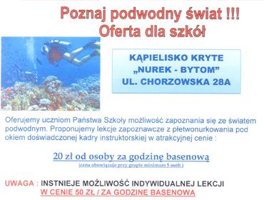 Poznaj podwodny świat !!! Oferta dla szkół